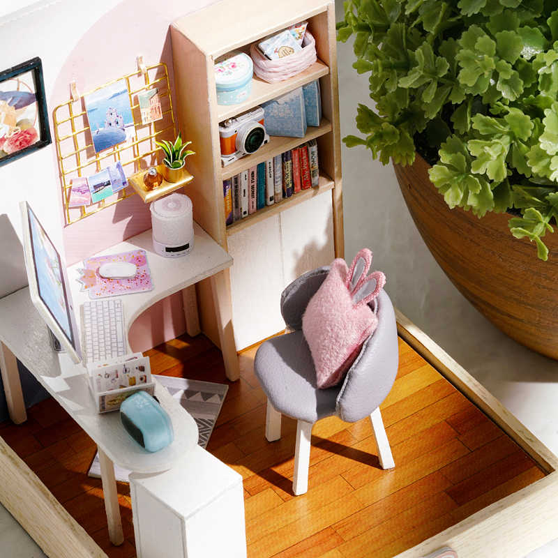 DIY 인형 집 가구 어린이를위한 소형 나무 Miniaturas 인형 집 상자 thatr 장난감 생일 선물 Casa Seed World QT30