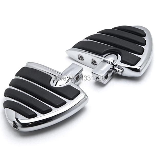 Chrome Wing Foot Pegs Rests For Kawasaki Vulcan 1600 Classic 2003-2008 (Rear)