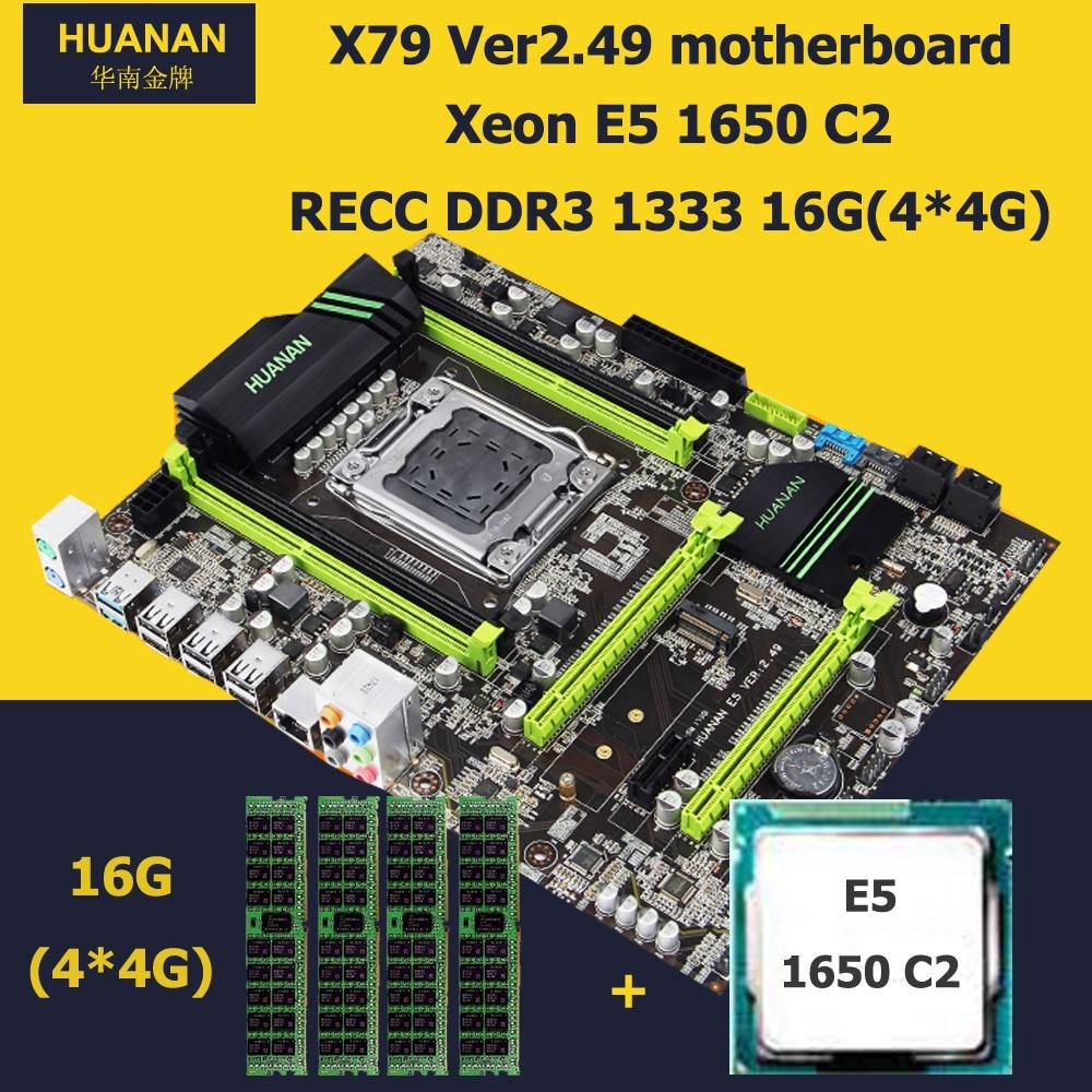 HUANAN V2.49 X79 LGA 2011 motherboard CPU RAM combos Xeon E5 1650 C2 CPU RAM 16G(4*4G) DDR3 RECC NVME SSD M.2 port max 4*16G RAM deluxe edition huanan x79 lga2011 motherboard cpu ram combos xeon e5 1650 c2 ram 16g 4 4g ddr3 1333mhz recc gift cooler