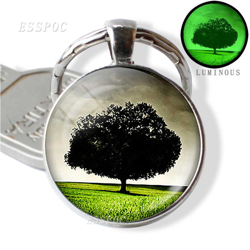 Árvore da Vida Jóias Imagem Luminosa Vidro Liga Chaveiros Chave Anéis Brilham No Escuro Saco de Jóias Pingente