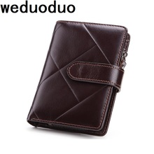 Weduoduo Genuine Leather Mens Wallet Man Cowhide Cover Coin Purse Small Brand Male Credit&ID Multifunctional Fashion Walets