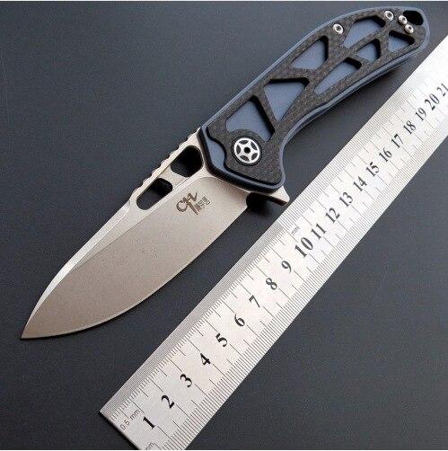 CH3509 D2 couteau pliant TC4 poignée en fibre de carbone roulement à billes en plein air camping chasse survie EDC outil de poche bushcraft couteaux