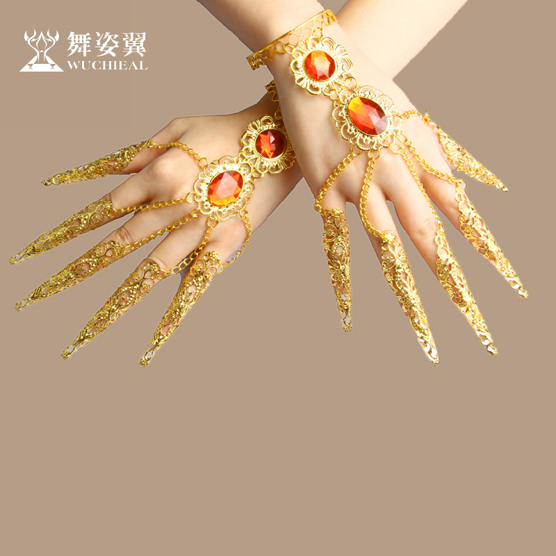 Free shipping, classic belly dance jewelry ruby bracelet finger set for women/female/girl/lady, 2pcs costume performance wears