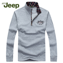 2016 New Brand AFS JEEP Men's Leisure sweater zipper Solid long sleeve pullover menknitwear mens sweaters 60
