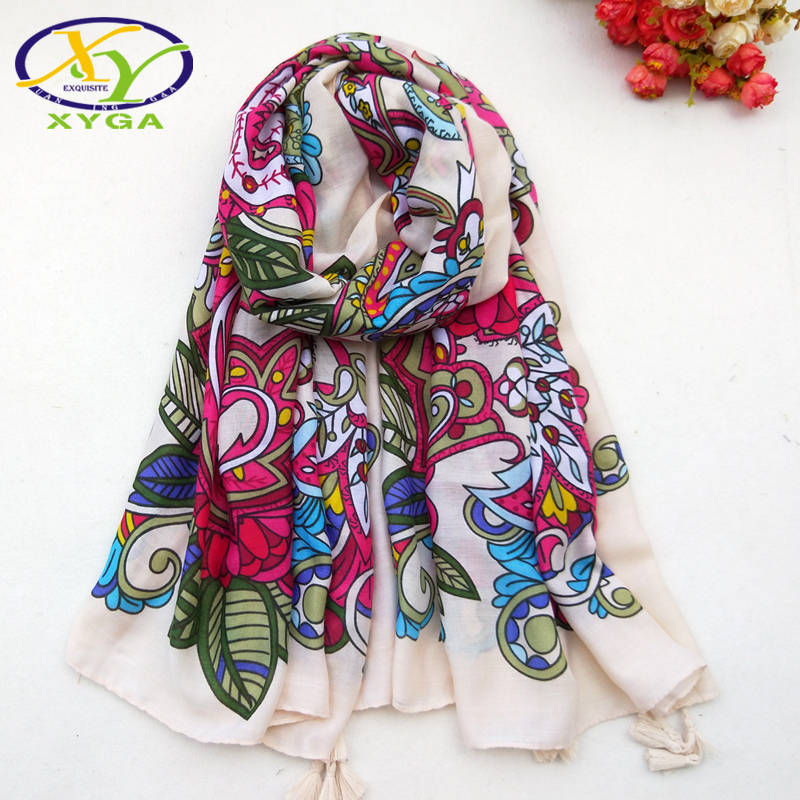 1PC New Cotton Women   Scarf   Flower Printed Autumn Long Soft Ladies Tassels Shawls Thin Summer Beach   Scarves   Female   Wraps   Spring