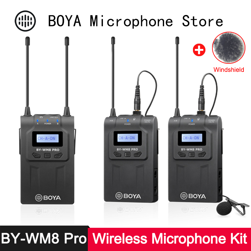 BOYA BY-WM8 Pro K1 K2 Wireless Microphone Transmitter Receiver Kit For Live Stream Conference ENG EFP DSLR Video Recording Mic
