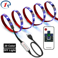ZjRight Led strip lights USB 5V RGB IR Remote Flexible 20color DIY household string light PC TV indoor stairs trails wall Lights