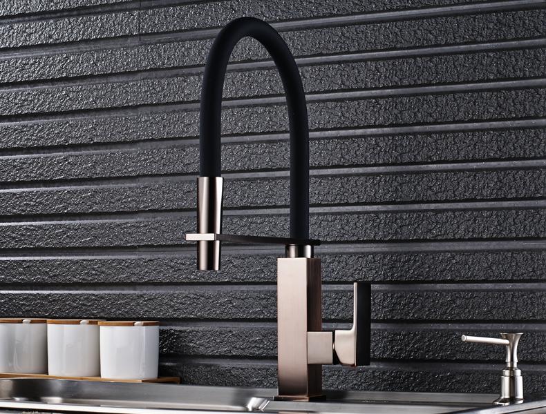 ORB Badezimmer Küchenarmatur Einhebel Deck Montiert Flexible Schwarz ...