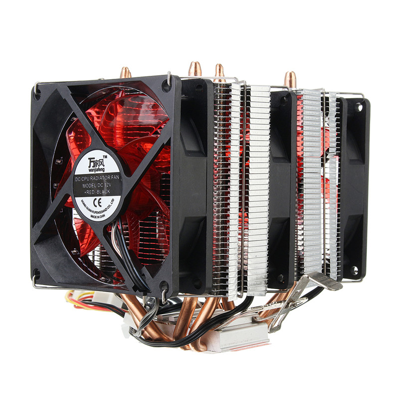 Red LED Three CPU Cooler Fan 4 Copper Pipe Cooling Fan Aluminum Heatsink for Intel LGA775 / 1156/1155 AMD AM2 / AM2 + / AM3 ED new pc cpu cooler cooling fan heatsink for intel lga775 1155 amd am2 am3 a97