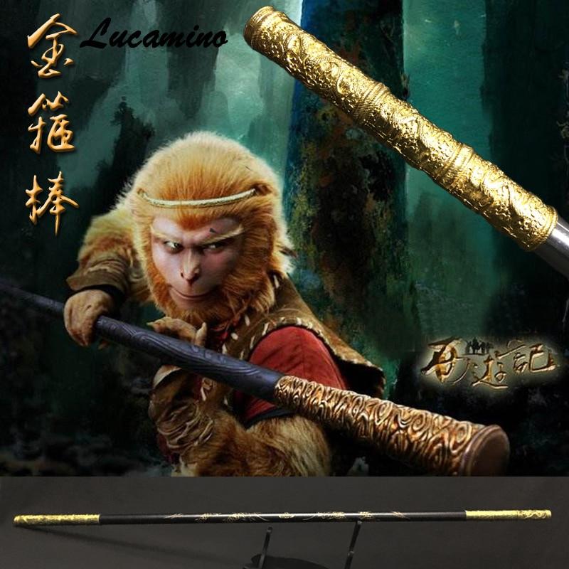 En bois Singe Roi Personnel Kungfu En Bois Wushu Bâtons Singe Gourdins Sculpture dragon d'or Trique Sun WuKong arme pratique