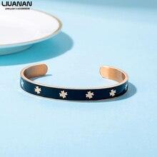 купить Stainless Steel Loves Bangles Bracelets For Women Enamel Clover Bracelet Cuff Bangle Lucky Female Jewelry Gift дешево