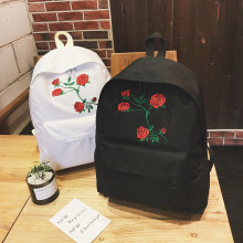 Fashion Women Harajuku Rose Embroidery Backpack Travel Backpack School Students Canvas Rucksack Popular