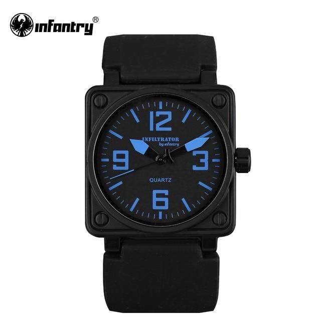 7e04560fef2 INFANTARIA Militar Homens Relógio Mens Relógios Top Marca de Luxo Do  Exército Aviador Quadrado Azul Marinho