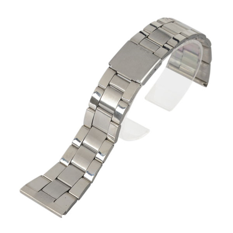 12/16/18/20/22/24mm Stainless Steel Solid Links Watch Bands Strap For Wristwatch Double Clasp Bracelet Fit Smart Watch Replaceme