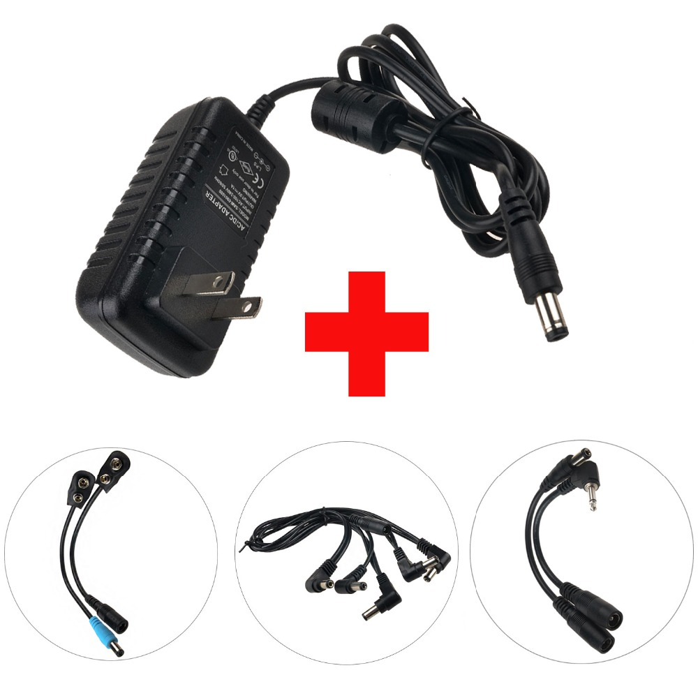 Caline CP-07B Power Adapter Supply with 5 Way Chain Cables Use For Guitar Effects Output to 1000ma 9V DC 1A UK AU US EU Plug caline cp 31 wah guitar effects pedals wah mode and vol mode ac100v 240v to dc9v 1a adapter use have au uk us eu plug