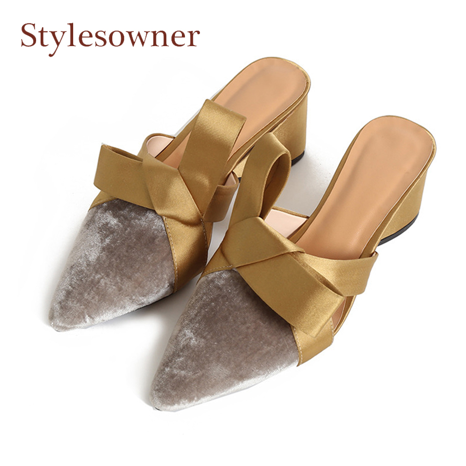Stylesowner fashion new mixed color butterfly knot slides pointed toe chunky heel women slippers slip on outside wear mules shoe venchale 2018 summer new cow leather solid outside butterfly knot high thin heel three colors casual pointed toe women s slides