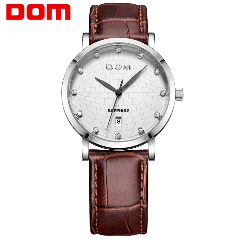 Men watches Dom Brand casual waterproof vintage table ultra-thin fashion genuine leather strap table watch male  M259L7M1 ultra thin watch male student korean version of the simple fashion trend fashion watch waterproof leather watch men s watch quar