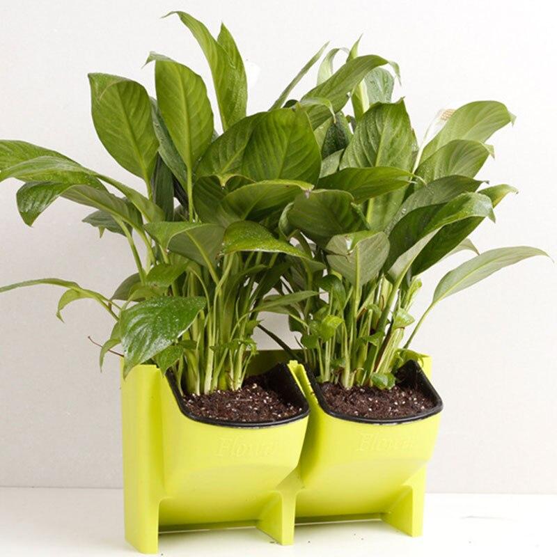 SOLEDI пластиковый цветочный горшок для растений, настенный садовый подвесной Штабелируемый садовый инвентарь, садовые ограждения, домашний декор - Цвет: Зеленый