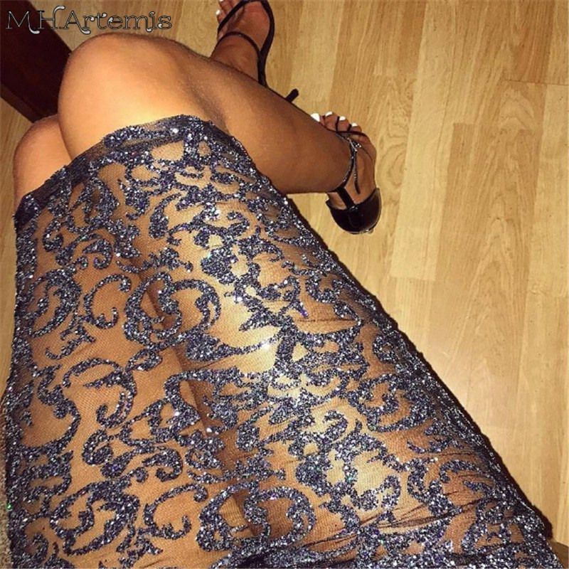 4fe7486dd M.h.artemis Sequin Mesh Midi Skirt Slim Autumn Winter High Waist Sexy Party  See Through Bling Bling Bodycon Pencil Skirt -in Skirts from Women's  Clothing on ...