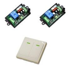 Interruptor de Control remoto inalámbrico, 433Mhz, 220V, 1CH, relé de potencia inalámbrico, Radio, luz, 2 receptores + TRANSMISOR