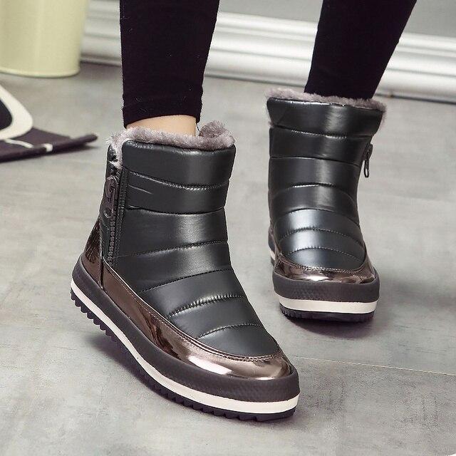 Fashion Women Winter Warm Slip On Flat Heel Short Snow Boots Waterproof Footwear