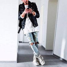 Kanye West stellen gleichen jeans männer hellblau schwarz designer Rockstar zerstört riss skinny distressed jeans