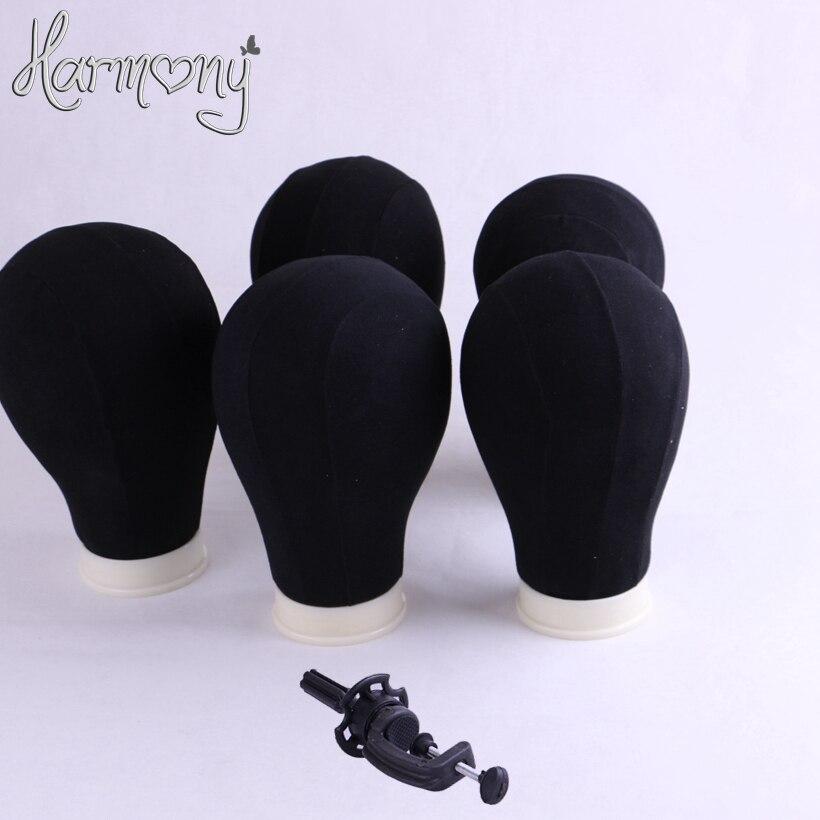 하모니 1 조각 24inch 캔버스 블록 머리 만들기 가발 폴 리 마네킹 캔버스 거품 블록 머리 (미색 베이지, 화이트, 블랙)