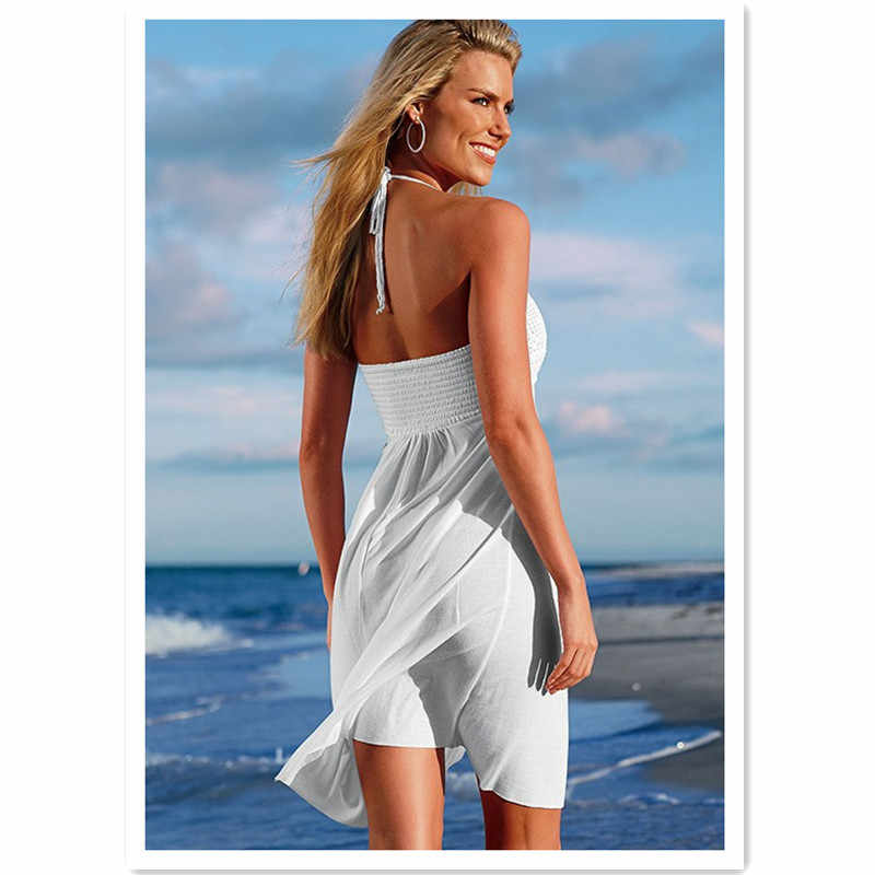 002e98bf41 ... Women Summer Halter Dress Beach Wear Dress Handmade Bust and Smocked  Back Braces Skirt Swimwear Cover ...