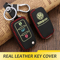 Real Leather Car Key Cover Luminous Key Case for Volkswagen VW Polo Passat Golf Jetta Sharan Tiguan Scirocco Beetle Car Styling