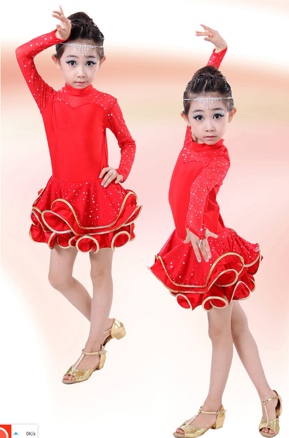 120-160cm hot rumba latin dance dress tango samba rosy black red yellow competition stage professional girl child dress costume