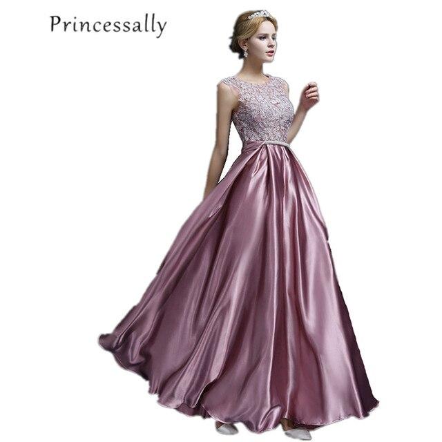 881602d6575 Satin Bridesmaid Dress Dusty Purple Floor Length Elegant Vestido De Festa  Longo Cheap Burgundy Bridesmaid Dresses Under 50