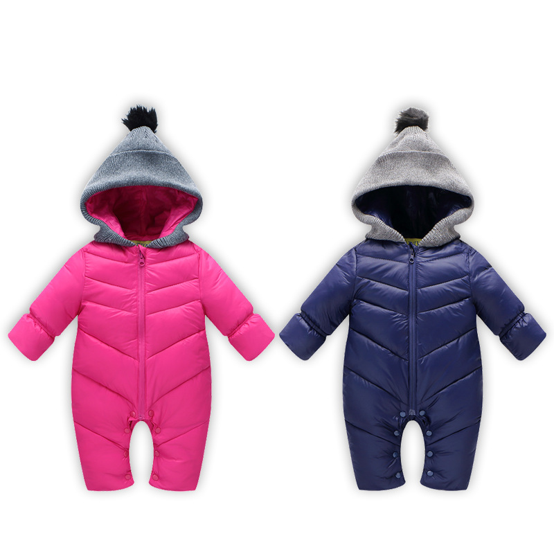 2018 New Born Baby Spring Winter Clothes Cotton Thick Warm Hooded Baby Jumpsuit Boy Girl Romper Children Snowsuit Clothing CA433