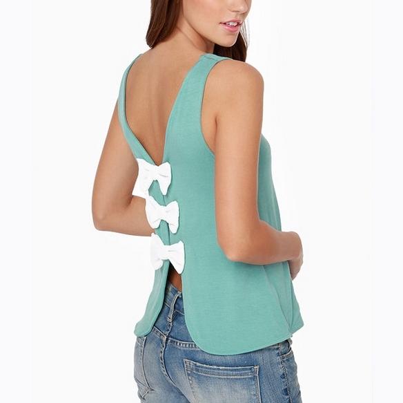 Sexy profundo escote en V backless sin mangas para mujer linda decoración del arco blusas ST2126