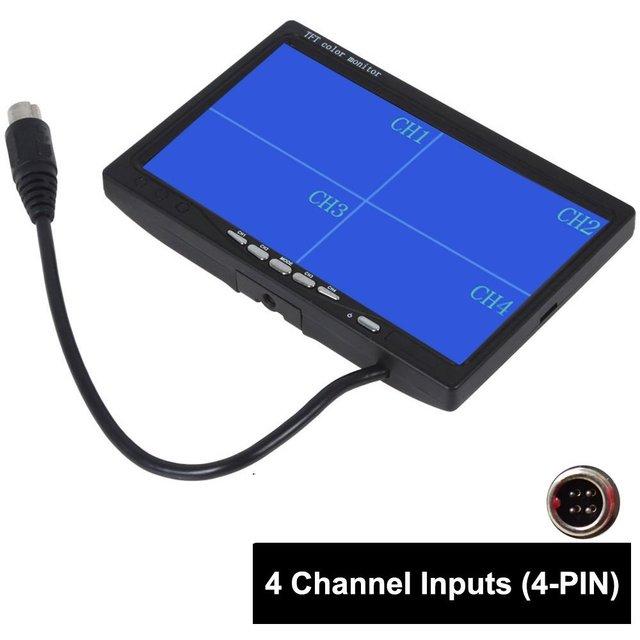 "7 ""TFT LCD de Coches Retrovisor Monitor Quad Split, Control Remoto, 4 Canales de Entradas de Vídeo Conector de $ NUMBER PINES A Prueba de Golpes"