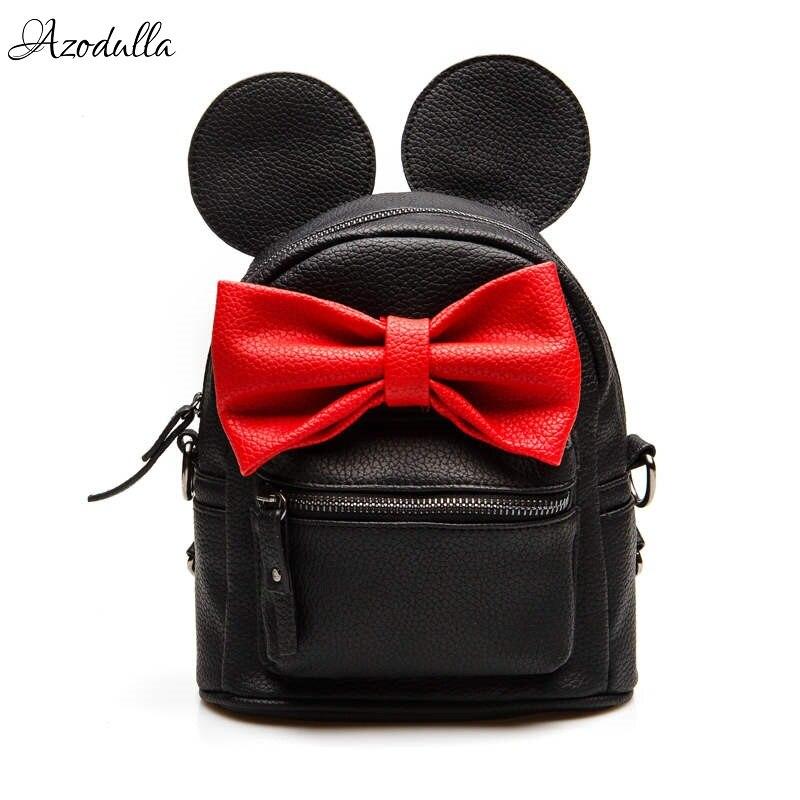 B52 2017 New Female Bag PU Leather Women Bags Cute Animals Ears Mickey Backpacks Lovely Bowknot College Sweet Girl Mini Backpack