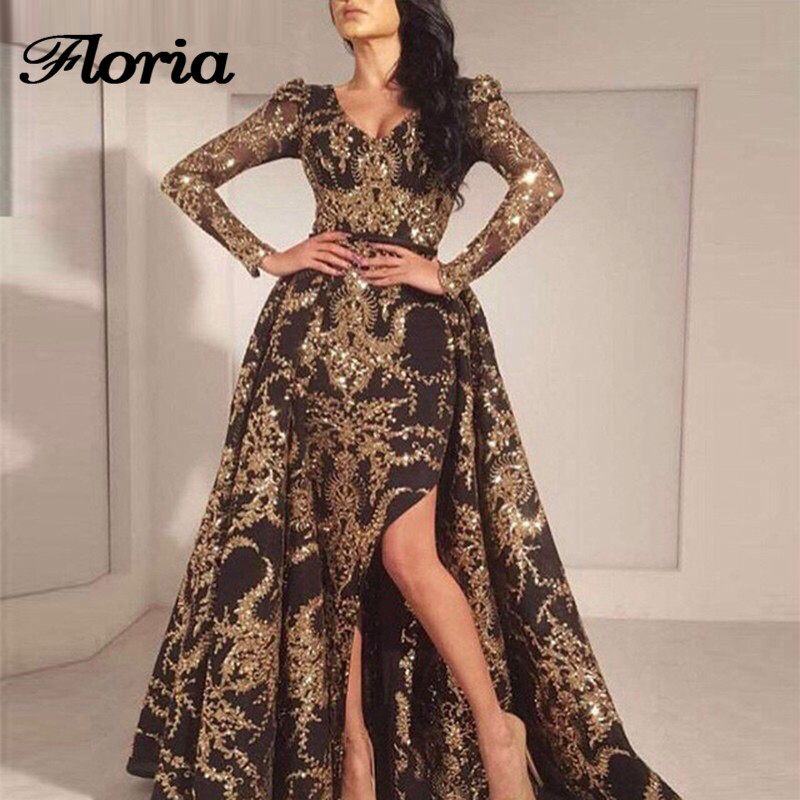 African Muslim   Evening     Dresses   Turkish Arabic In Dubai Long Sleeves Formal Prom   Dress   For Weddings Aibye Kaftan Glitter Gowns