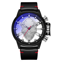 Black Watch Men With Skull Head 3D Luminous Dial Genuine Leather Band Dialy Waterproof Wrist Watch