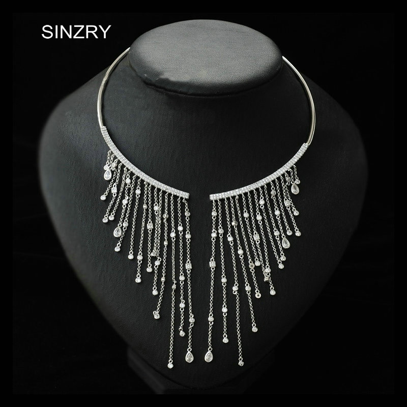 SINZRY Luxury party jewelry accessory clear white cubic zirconia tassel chokers necklace elegant bridal necklaces