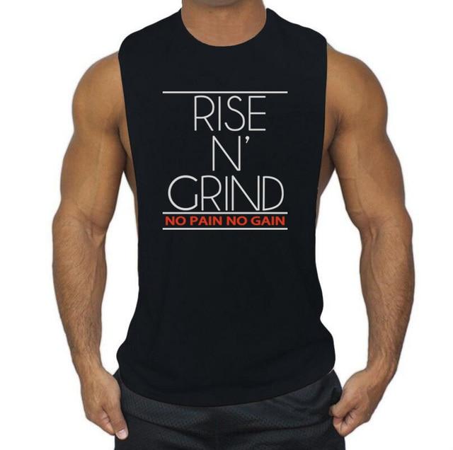 d17bbd9a8b517 Bodybuilding Stringer Tank Top Men Fitness Singlet cotton Sleeveless Vest  NO PAIN NO GAIN print Brand