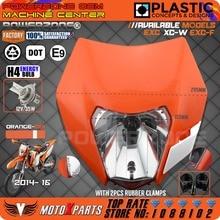 2015 16 Motorcycle Dirt Bike Motocross Supermoto  Universal Orange  Headlight  KTM SX EXC XCF SXF SMR Headlamp  Free Shipping! 12v 35w headlight head lamp fairing motorcycle mx dirt bike off road dual sport ktm sx exc xcf sxf smr free shipping