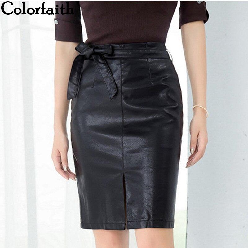 Colorfaith New 2019 Women PU Leather Skirt Autumn Winter Pencil Eelegant Bow Ladies Fashion Package Hip Slit Midi Skirt SK3440