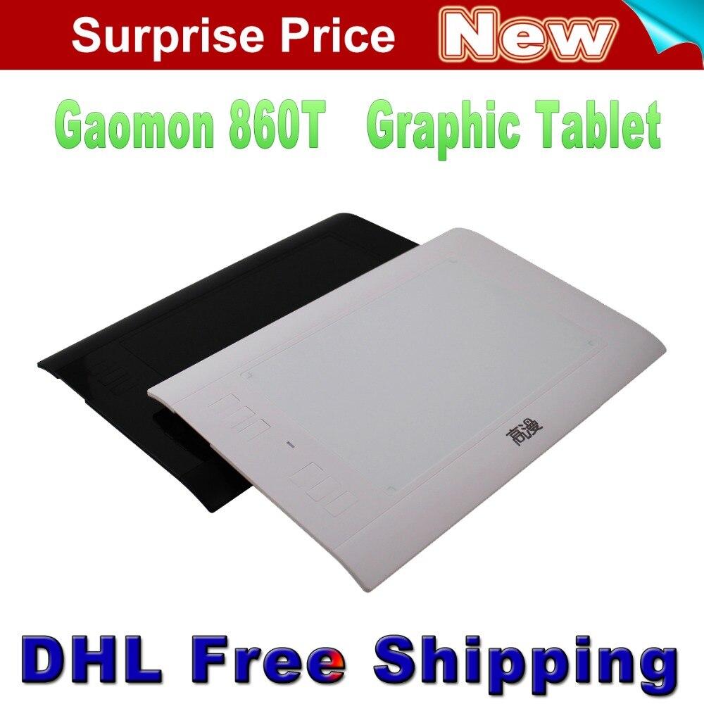 """Promosyon Yeni Gaomon 860 T 8 """"x 5"""" çizim Tablet Dijital Tablet Grafik Kalem Tablet MINI USB 64 GB Kart Siyah ve Beyaz Uzatmak"""