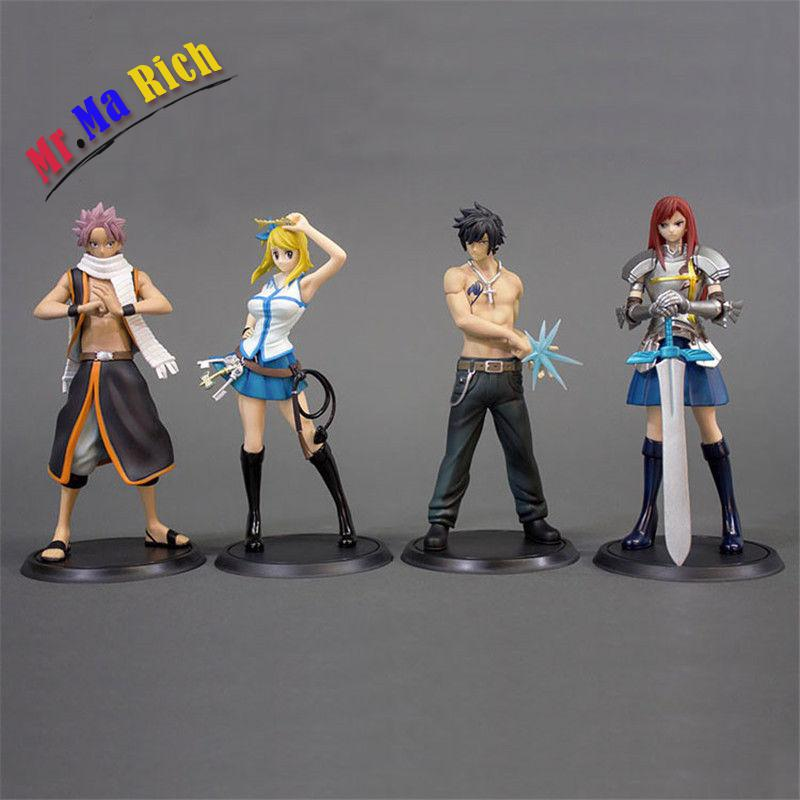 Fairy Tail Sc Lucy Gray Erza Scarlet Etherious Natsu Dragneel Figure 4pcs Set N