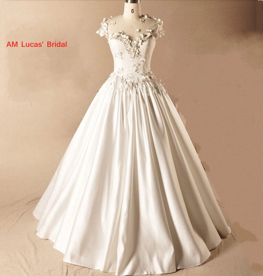 Long A Line Wedding Dresses 2019 Handmade Flowers Lace Up
