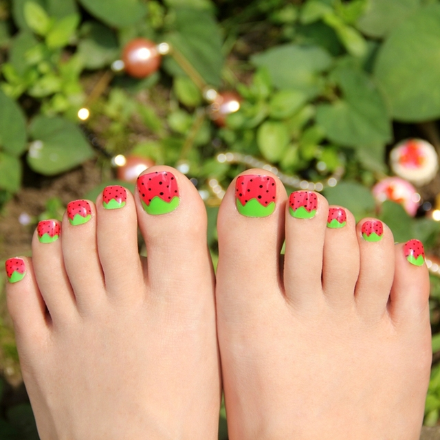 False toe nails art tips green leaves strawberry red acrylic fake false toe nails art tips green leaves strawberry red acrylic fake toenails plastic nail accessories fashion prinsesfo Images