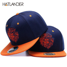 High quality lion face embroidery snapback cap cool king hip hop hat for boys an