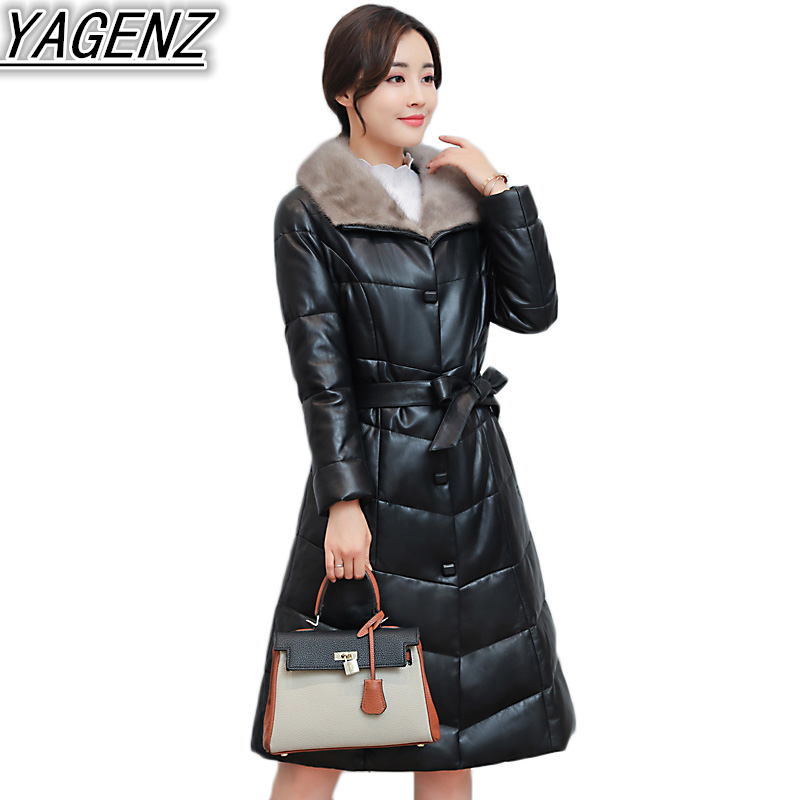 High quality 2017 Winter Leather Coat Female Solid color Down Jacket Women's Big Faux Mink fur collar Leather Clothing Plus size
