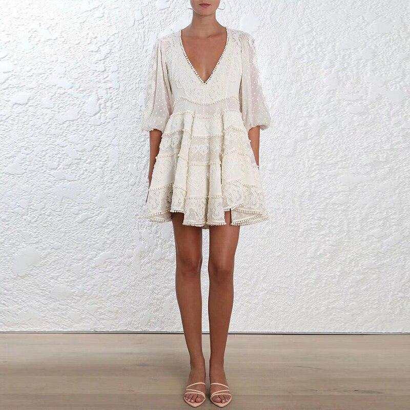 Lin Robe Designer En Sexy 2018 cou Haute Manches Femmes V Vacances Superbe Boutique Bouffantes Blanc Qualité Crochet Broderie 556qZBrw