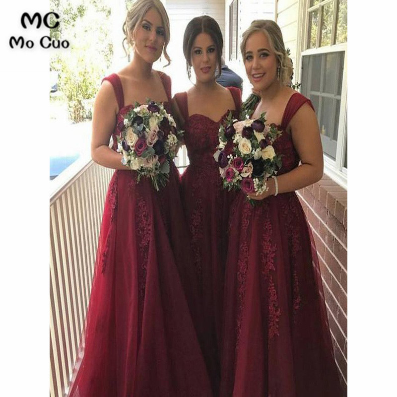 Elegant 2019 Burgundy   Bridesmaid     Dresses   Long with Appliques Straps Tulle Formal Wedding Party   Dress     Bridesmaid     Dress