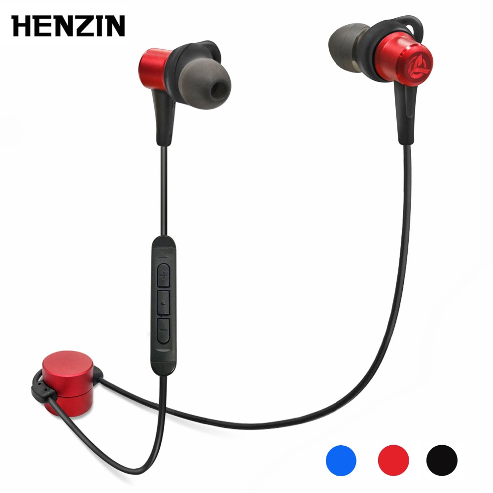 HENZIN Sports Bluetooth Earphone 4.1 Waterproof IPX7 Wireless Earbuds Hifi Stereo With Mic In-Ear Earphones For iPhone Sumsung picun p3 hifi headphones bluetooth v4 1 wireless sports earphones stereo with mic for apple ipod asus ipads nano airpods itouch4